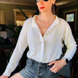 Vintage pointelle knit white soft cozy cardigan M